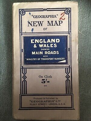 'Geographia' New Map Of England & Wales. 1940s Cloth fold Out.