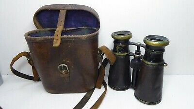 Antique Binoculars Brass & Leather Field Glasses In Leather Case