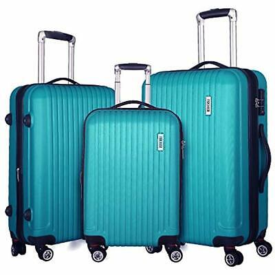 Luggage Sets 3 Piece Expandable Lightweight Spinner Suitcase TSA Lock (Green)