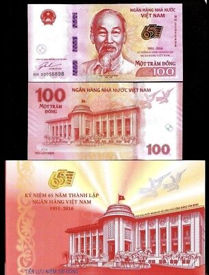 Vietnam 100 Dong 2016 Commemorative 65 Year National Bank Unc + Folder