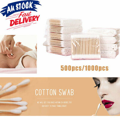 500/1000Pcs  Wooden Handle Disposable Cotton Head Swab Ear Buds Makeup Cosmetic