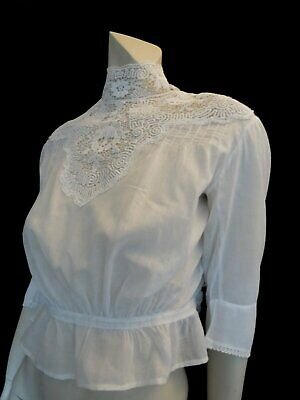 Antique Edwardian Blouse With High Lace Neck - Waist 59 cm