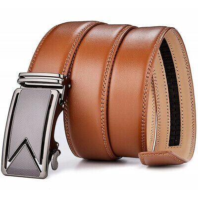 Men's Automatic Buckle Dress Belt Genuine Leather Waistband Jeans Gift