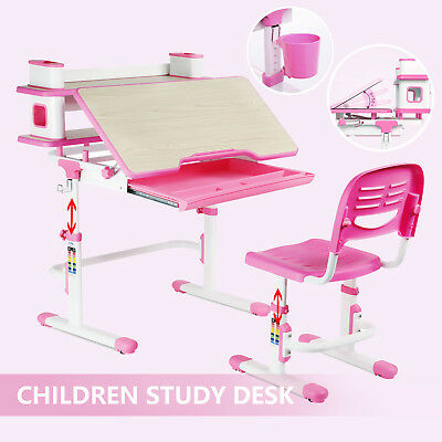 e408ec22a16 Adjustable Children s Study Table Desk Chair Set Child Kid with Book Shelf  Pink