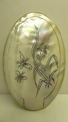 Vintage Mother Of Pearl Shell Cased Pocket Compact Travel Mirror Purse Handbag