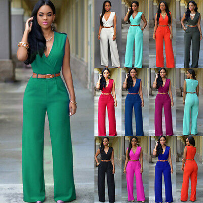 Women High Waist V Neck Sleeveless Bodycon Party Jumpsuit Romper Belt Trousers