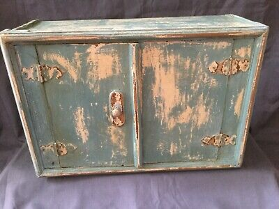 Vintage rustic French wooden storage cabinet 'shabby chic' style good condition