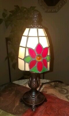 """CHARMING Vintage Small Colorful STAINED LEADED Art Glass BOUDOIR Lamp~12""""!"""