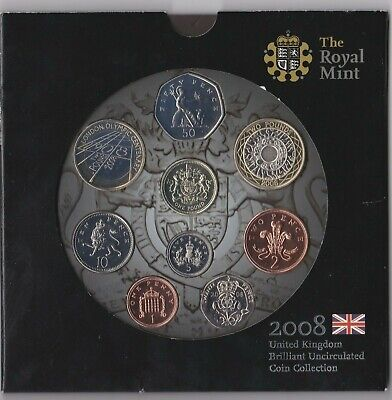 2008 Uk  Brilliant Uncirculated 9 Coin Collection In Royal Mint Pack