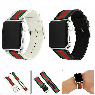 For Apple Watch 5/4/3 Band Pattern Stripe Sport Replacement Leather Nylon Strap