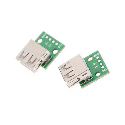2pcs Hot Femelle Type A USB Pour 2.54MM Carte Board DIP Adapterjb  OFQ
