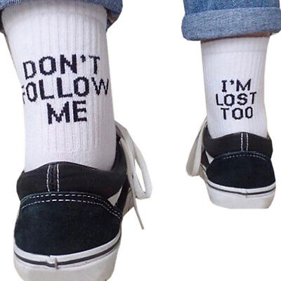 dont follow me Letter Printed Ankle Socks Summer Casual Sport Cotton Socks InYB0