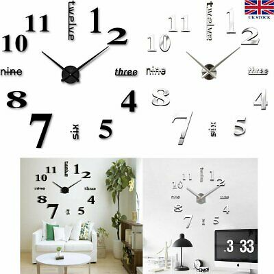 DIY Large 3D Number Mirror Wall Sticker Home Decor Big Watch Sticker Art Clock
