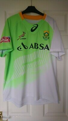 194b833e59d Asics South Africa Springboks Lime Green White Rugby Sevens Shirt Jersey  Size XL