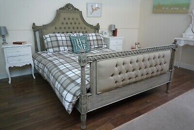 French Farmhouse Style Upholstered Double Bed In A Weathered Oak Finish
