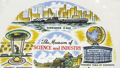MUSEUM SCIENCE & INDUSTRY on Chicago's Lakefront VINTAGE Souvenir PLATE MSI U505