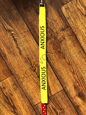 "Anxious Dog Lead Slip Nervous Rescue Dog Banner 1"" Collar Yellow Warning"