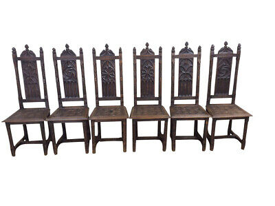 Unique Set of Six French Gothic Dining Chairs, Carved Seats, 19th Century, Oak