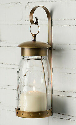Quart Mason Jar Hanging Wall Sconce w Bracket Pillar Candle Holder Antique Brass