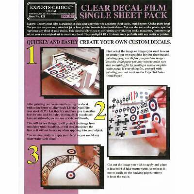 Experts-Choice Clear Decal Film For Inkjet Printer 215mm x 280mm SINGLE SHEET