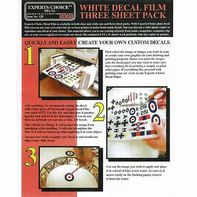 Experts-Choice White Decal Film For Inkjet Printer 215mm x 280mm THREE SHEETS