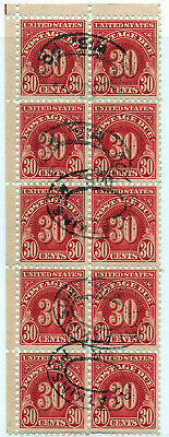 Stamps Us Postage Due Block Of Ten 30 Cents Used