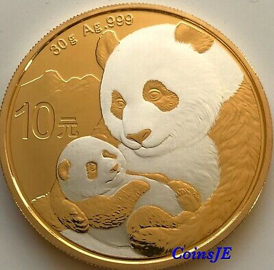 2019 10 Yuan China Panda 30g Silver .999 Gold Gilded Silver Coin Box & Coa