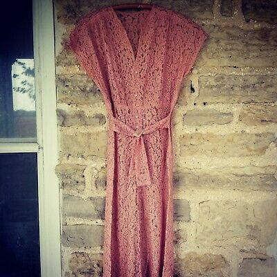 Authentic True Vintage 1930s Dusty Rose lace gown dress Glass Buttons XS S 30's
