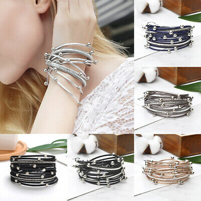 Multi-layer Pearl PU Leather Bracelet Inlaid Rhinestone Magnetic Buckle Bangle