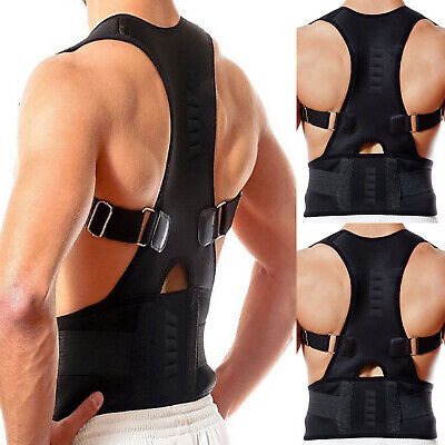 Neoprene Magnetic Posture Corrector Bad Back Support Lumbar Belt Shoulder Brace