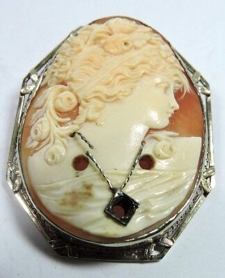 Antique Victorian Edwardian Filigree 14k White Gold Cameo Pin Pendant #N806