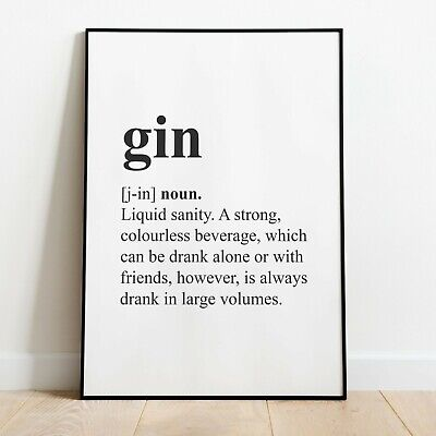 GIN Definition Wall Print | Kitchen / Dining Room Wall Art Home Decor Quote Idea