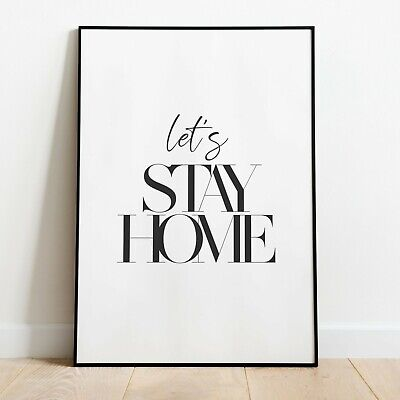 LET'S STAY HOME Wall Print | Kitchen Wall Art Home Decor Ideas Quote Picture