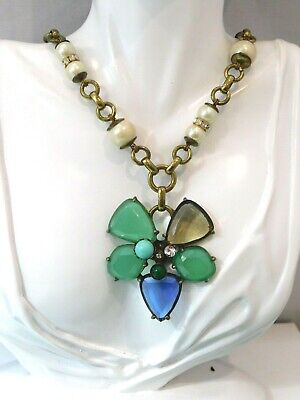 Chunky Jade Green Rhinestone Flower Pearl Bead Necklace extender 6d 28
