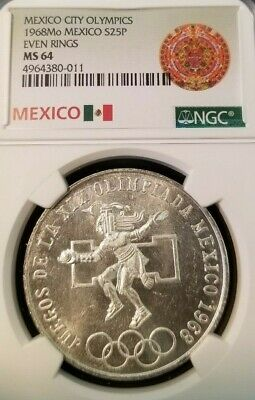 1968 Mexico Silver 25 Pesos Olympics Even Rings Ngc Ms 64 Beautiful Bright Coin