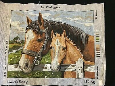 Royal Paris Needlepoint Canvas Horses Mare Foal Brown Tan 132 56 Farm