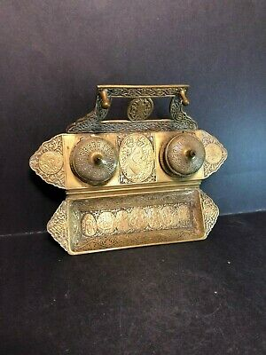 Rare Unique Antique Ornate Solid Bronze Double Inkwell Signed Germany Desk Set!!