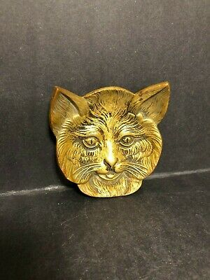 Art Deco Antique C.1910 Solid Bronze Brass Footed Cat Face Pin Change Dish Tray!