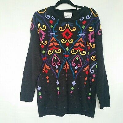Vintage Colourful & Black Knit Jumper Sweater S (Fits S-M) Rainbow