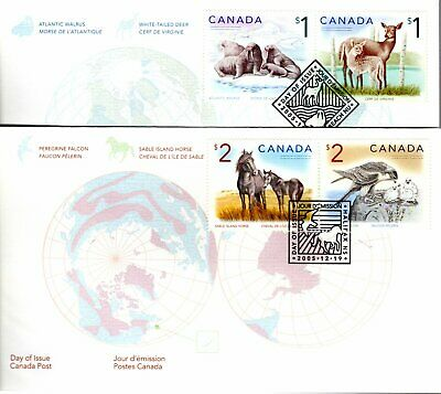 2005 #1688-9 + 1691-2 Wildlife Definitives set of 2 FDC with CP cachet
