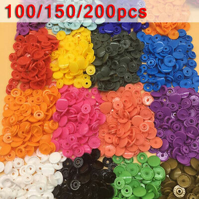 100/150/200 Complete Sets Plastic Resin Kam Snaps Fasteners, Press Studs Poppers