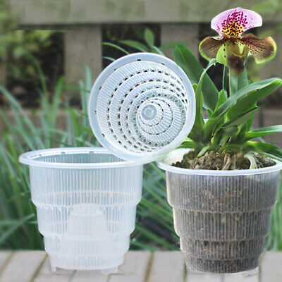 Mesh Pot Plastic Clear Orchid Flower Planter Container Home Gardening Decor