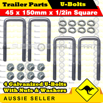 4 x U-Bolts 45mm x 150mm Square with Nuts Galvanized Trailer Box Boat Caravan