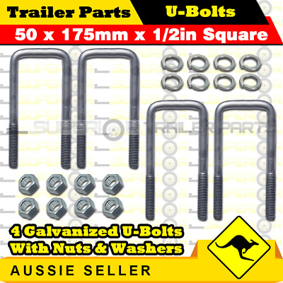 4 x U-Bolts 50mm x 175mm Square with Nuts Galvanized Trailer Box Boat Caravan