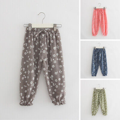 Child Kids Girls Floral Printed Casual Long Pants Trousers Elastic Harem Legging