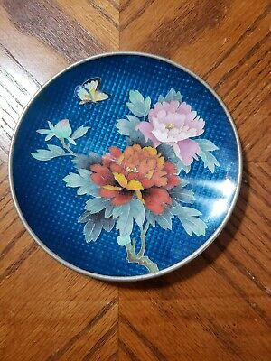 Vintage JINGFA Cloisonne Decorative Flowers Butterfly Plate Chinese