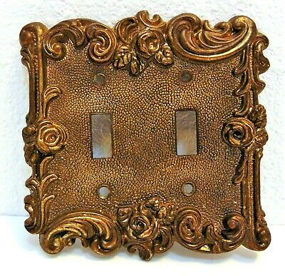 Vintage 1967 American Tack Hardware Double Switch Plate Cover Ornate Scroll Rose