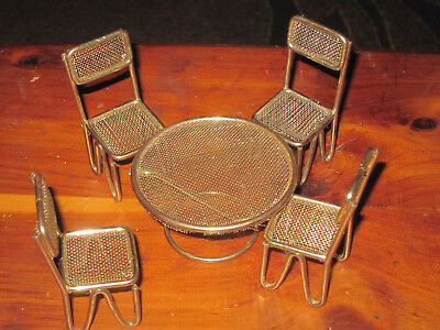 1950's Mid Century 5Pcs Dollhouse Miniature Gold Metal Dinner Table & 4 Chairs
