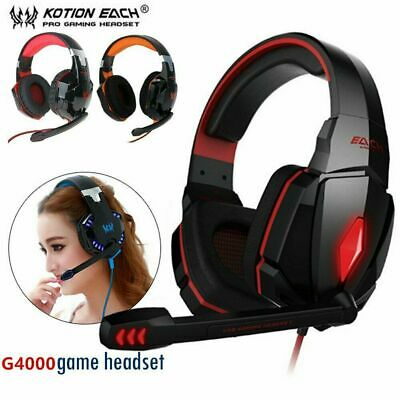 Spiel Gaming Kopfhörer Headset mit Mikrofon LED Surround Sound Stereo Bass UP