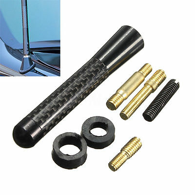 "3"" Universal Black Real Carbon Fiber Aluminum Short Screw-On Mast Car Antenna"